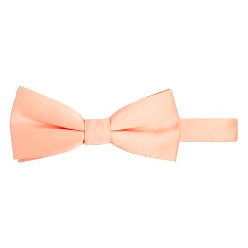 Jacob Alexander Men's Pretied Banded Adjustable Solid Color Bowtie - - Tie Bow Peach