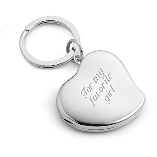 Things Remembered Personalized Heart Locket Key Chain, Key Ring with Engraving Included