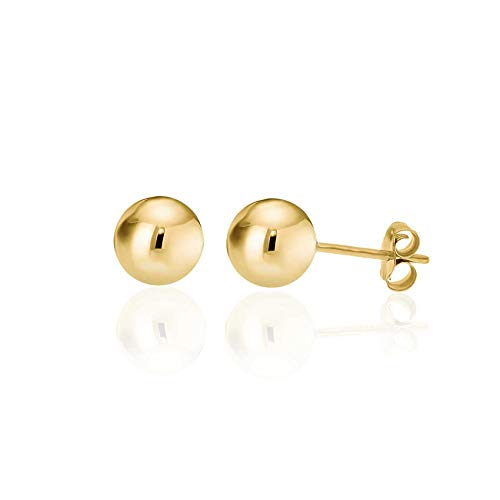 14K Yellow Gold Filled Round Ball Stud Earrings Pushback 8mm