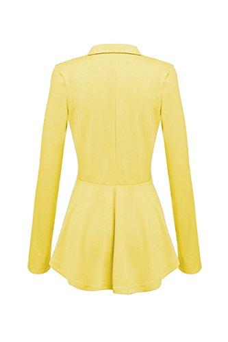 Mujeres Slim Trabajo Blazer Crop Peplum YACUN Fit Tops Casual Jacket Coat Yellow ZS64Wqw