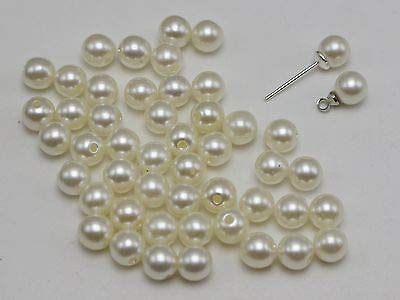 Calvas 500 Ivory Plastic Round 6mm Half Drilled Faux Pearl DIY Earring Ring ()