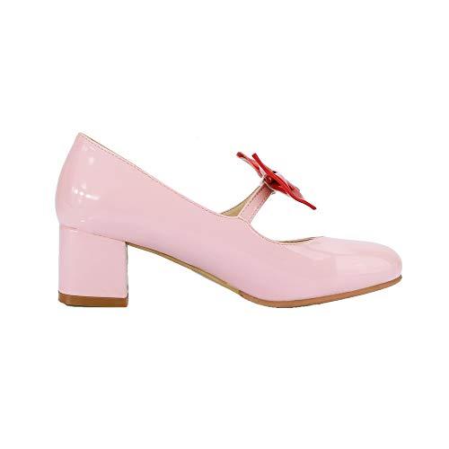 AllhqFashion Assortito Colore Tirare Ballet FBUIDD006268 Tacco Medio Flats Donna Rosa UIqrnAXwTU