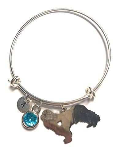 Cavalier King Charles Spaniel Bracelet Adjustable Bangle Silver Initial Letter Birthstone Charm Pendant Customized Jewelry Gift