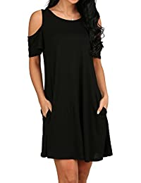 Women's Cold Shoulder Tunic Top T-Shirt Swing Dress Pockets