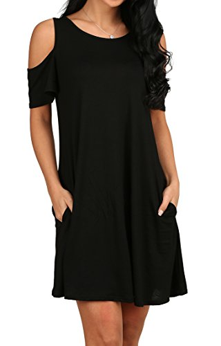 Women's O Neck Cold Shoulder Off T-Shirt Loose Tops Black L from OFEEFAN