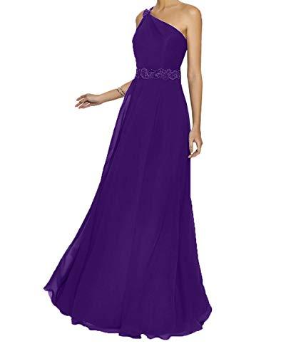 Promkleider A Abendkleider Lila Bodenlang Ballkleider Ein Traeger Linie Braut Langes La mia Chiffon Brautmutterkleider wfSa64Sq