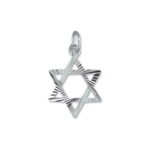 18af3661af54 Plata de Ley para Hombre estrella de David Colgante en un collar de cordón  de cuero