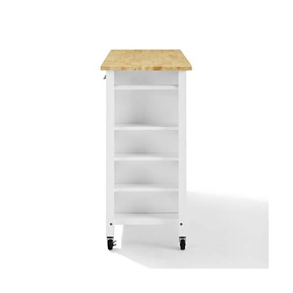 Crosley Savannah Wood Top Full-Size Kitchen Island/Cart White/Natural