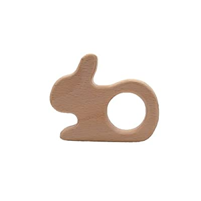 Wendysun 1pcs Wooden Rabbit Teether Natural Beech Wood Teething Toys for Infant, Baby Teether Animals for Toddler, Soothing Pain Relief Toys for Baby Shower Gift (1pcs): Arts, Crafts & Sewing