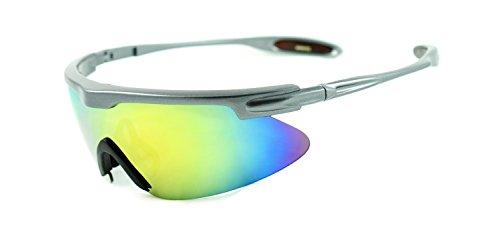 Lightweight Oversized Sports Shield Mirrored Wrap Around Sunglasses Baseball, Cycling, Running - Celine Mirrored Sunglasses