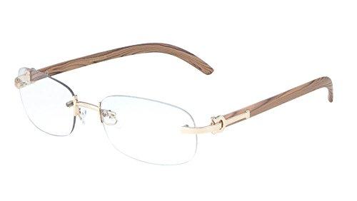 Gift Depot TM Rimless Oval Dean Slim Dapper Metal & Wood Eyeglasses / Clear Lens Sunglasses - Euro Frames (Rose Gold & Light Brown Wood)