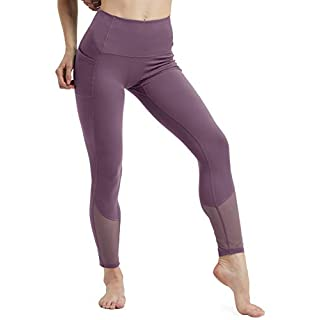 High Waisted Leggings for Women Tummy Control Tight Yoga Pants with 2 Pocket Capri Legging Regular and Plus Size M Lotus Root Starch