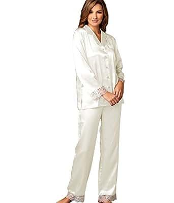 Julianna Rae Sleep-In Women's 100% Silk Pajama, Alabaster, XS