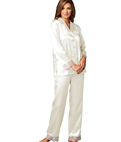 Julianna Rae Sleep-In Women's 100% Silk Pajama, Alabaster, (Glamour Nightgown)