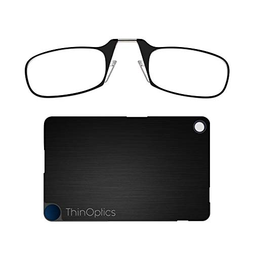 ThinOptics Reading Glasses + FlashCard Case | Black Frame, 1.50 Strength Readers