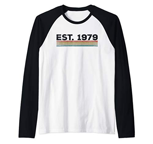40th Birthday EST. 1979 Vintage 1970's Style Gift Idea Raglan Baseball Tee -