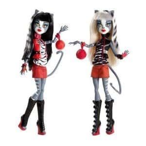 Pack 2 Muñecas Monster High - Hermanas gemelas (Mellizas Felinas) + Complementos