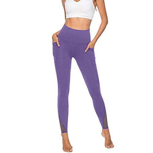 (Beihxwe Vintage Women Pants Solid Color Summer Straight Wide Slim Long Pants for Work Dress Tight Pants (S, Purple))
