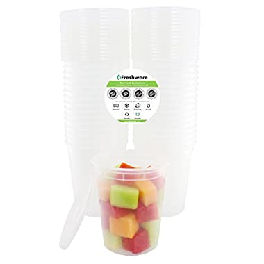 Freshware 24-Pack 32 oz Plastic Food Storage Containers with Airtight Lids - Restaurant Deli Cups, Foodsavers, Baby, Bento Lunch Box, 21 Day Fix, Portion Control, and  Meal Prep Containers