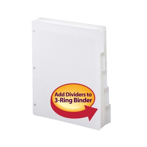 smead three ring binder index dividers 1 5 cut tabs letter size white 5 per set 20 sets per. Black Bedroom Furniture Sets. Home Design Ideas
