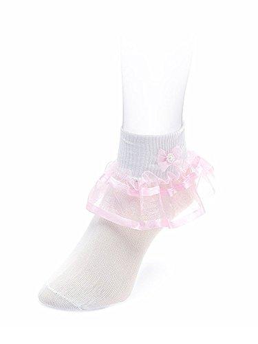 Organza and Satin Double Ribbon Girls Fancy Socks (S(3-4 years), - Fancy Girl Ribbon