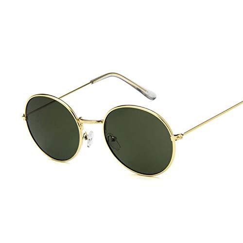 Vintage Round Sunglasses Retro Luxury Small Mirror Sunglasses,Gold Dark green