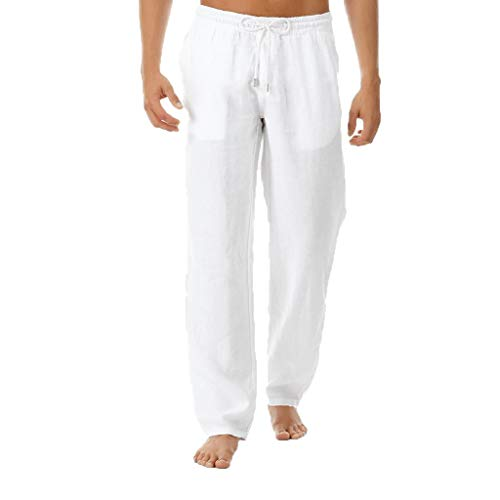 ANJUNIE Mens Cotton Linen Casual Pants Elastic Waist Loose Fit Trousers Tapered Cargo Beach Trouses(White,XXL)]()