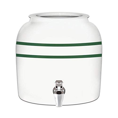Brio Striped Porcelain Ceramic Water Dispenser Crock with Faucet - LEAD FREE (Green Stripe)