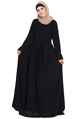 Mushkiya Simple Yet Very Elegant Dress Abaya with Matching Belt -Black for girls, ladies, women, Burkha (ABD-110-Black)