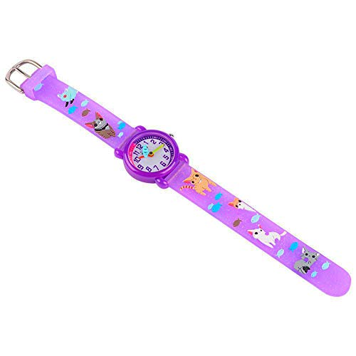 Toddler Kids Children Watch,3D Cute Cartoon Silicone Band Wristwatches Time Teacher Gifts Watches for Kids Girls Toddlers (Purple Cat) by Angels' (Image #4)