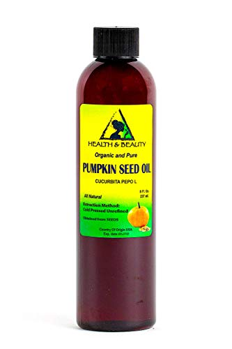 Seed Pumpkin Oil (Pumpkin Seed Oil Organic Unrefined by H&B OILS CENTER Raw Virgin Cold Pressed Premium Quality Natural Pure 8 oz)