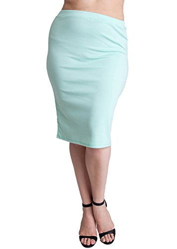 Woman Mint Plus Size Banded Waistline Pencil Skirt