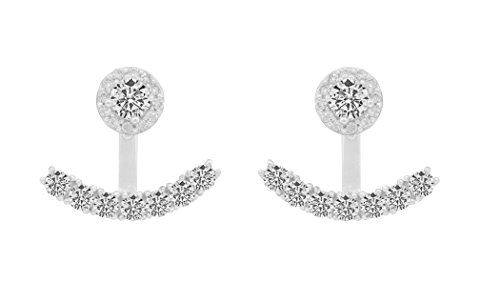 Sterling Silver Front Back 2 in 1 Cubic Zirconia AAA Quality Stud and Ear Jacket Cuff Earrings Set (Halo White)