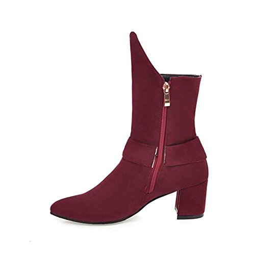 NVXIE Women's Ladies Short Boots Rough High Heel Pointed Toe Scrub Belt Buckle Black Wine Red Fall Winter Party Work WINERED-EUR44UK10 svB8Na1U