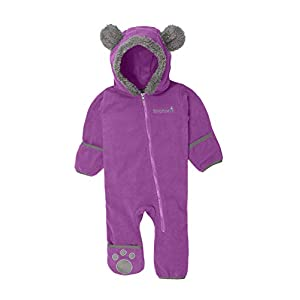 Snonook Fleece Baby Bunting Hooded Romper Bodysuit with Fold-Over Mitten and Footed Cuffs
