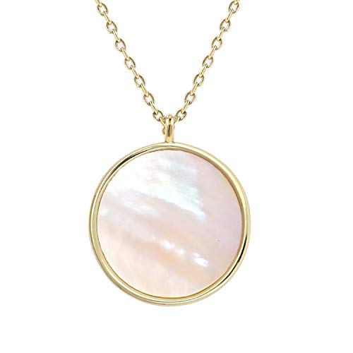Lancharmed Minimal Round Mother of Pearl Pendant Necklace Disc Circle Reversible Necklaces Gift for Girls Womens &Teens (14K Gold)