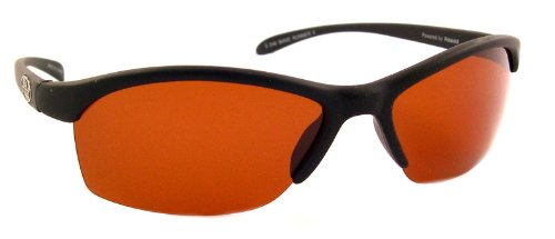 Sea Striker Wave Runner Polarized Sunglasses with Black Frame and Vermillion Lens (Fits Medium to Large - Frame Striker