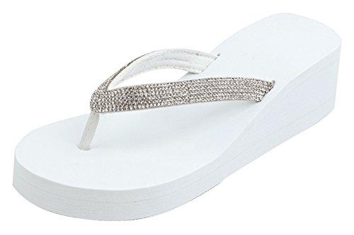 TravelNut Best Gliterry Bling Beach Jeans Urban Jewel White Wedge Platform Flip Flops Sandals for Women Teen Girls (White Size 9)