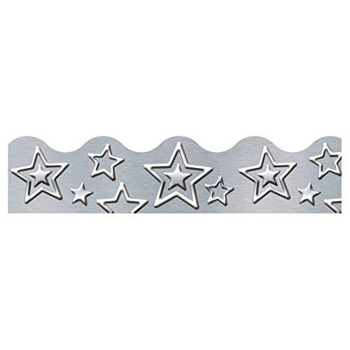 Terrific Papers Stars - TREND enterprises T-92682BN I ♥ Metal Silver Stars Terrific Trimmers, 39' Per Pack, 2.25