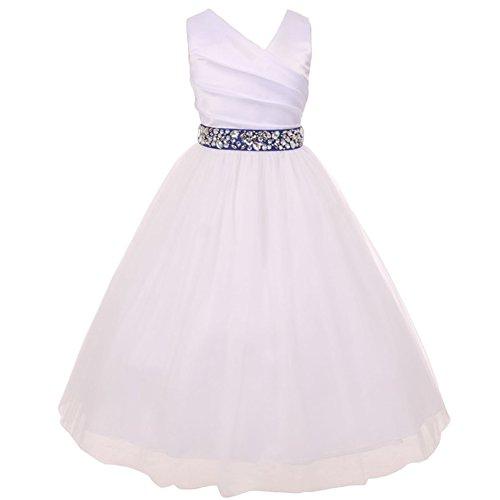 Bodice Illusion - Big Girls Spinning Gathered Satin Bodice Illusion Skirt Rhinestones Sash Communion Bridesmaid White Dress Royal Blue Sash - Size 8