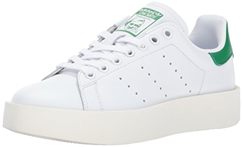 adidas Originals Women's Shoes | Stan Smith Bold Sneakers, White/White/Green, (8 M - Bold Leather