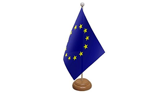 9 x 6 European Union Euro Blue Stars EU Large Desktop Table Flag With Wooden Base /& Pole Ideal For Party Conferences Office Display