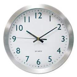Universal Office Products Brushed Steel Finish Wall Clock