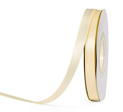 YAMA Double Face Satin Ribbon - 3/8 Inch 25 Yards for Gift Wrapping Ribbons Decorations DIY Crafts Arts, Ivory