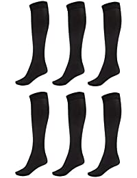 94ca9fc93 6 Pack of Women Trouser Socks with Comfort Band Stretchy Spandex Opaque Knee  High