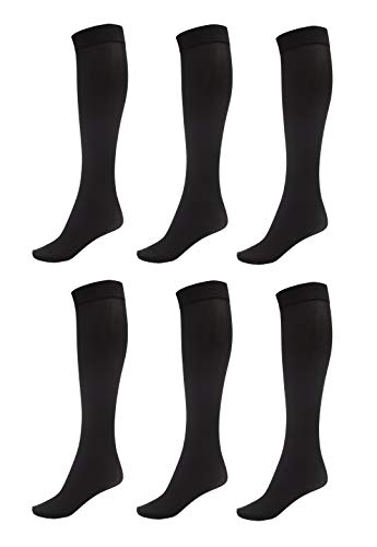 Womens Soft Opaque Knee High - 6 Pack of Women Trouser Socks with Comfort Band Stretchy Spandex Opaque Knee High, Black