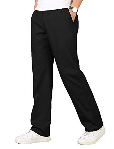 COOFANDY Men's Cotton Pants Casual Elastic Waist Drawstring Fitted Trousers