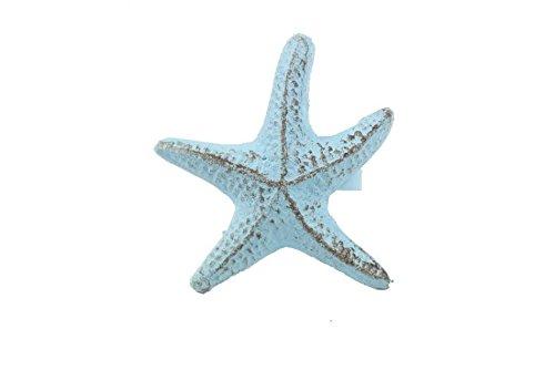 Rustic Light Blue Cast Iron Starfish Napkin Ring 3\