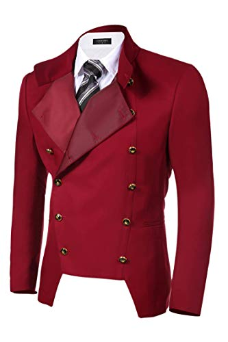 COOFANDY Men's Luxury Slim Fit Suit Blazer Double-Breasted Jacket Steampunk Coat Red -
