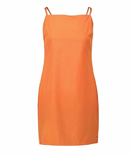Mid Dress Women Orange Pure Spaghetti Colour Bowknot Strap Backless Coolred Plaid qf78f
